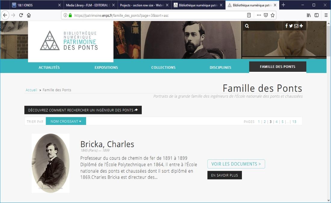 Biographies de professeurs de l'Ecole des Ponts