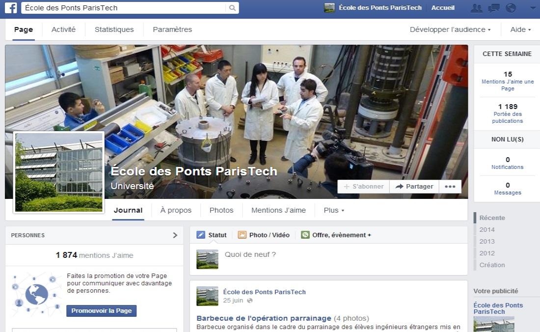 Page Facebook de l'Ecole des Ponts