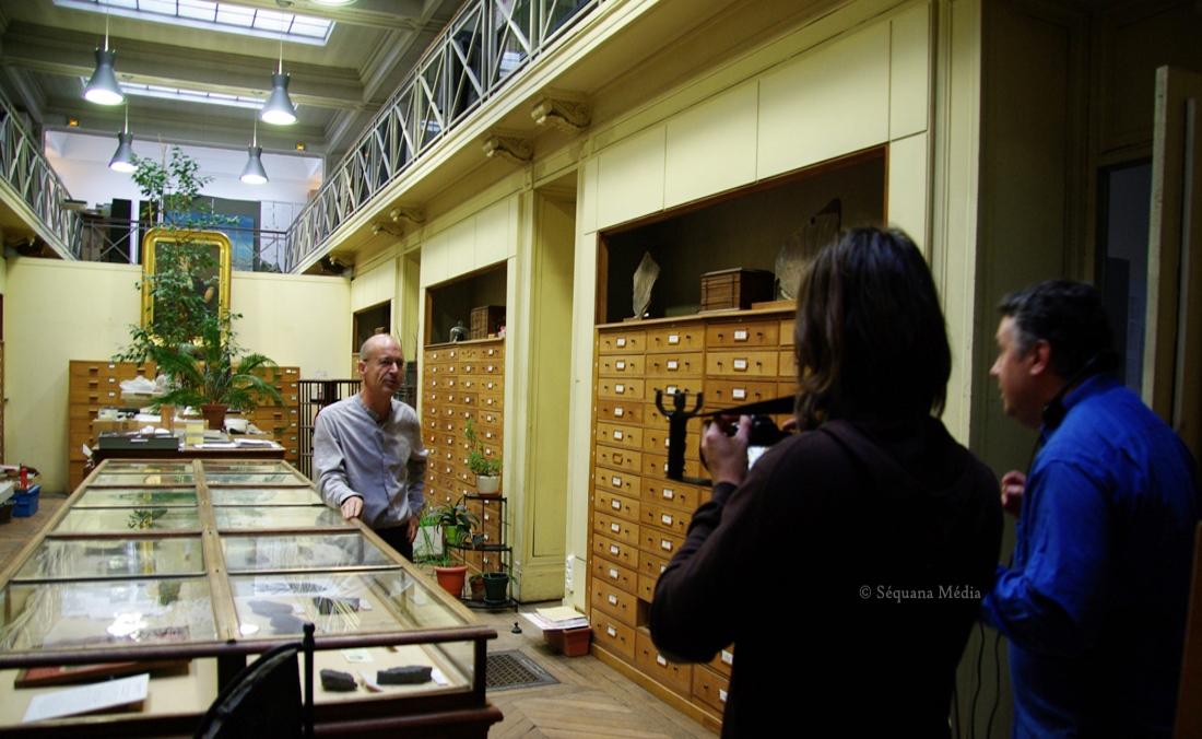 Tournage au Muséum National d'Histoire Naturelle pour le film Paris sous la mer - Agence Sequana Media
